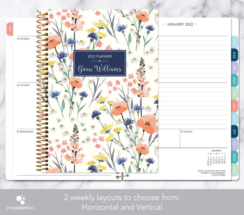 personalized planner 2021  12 month calendar  weekly planner image 0