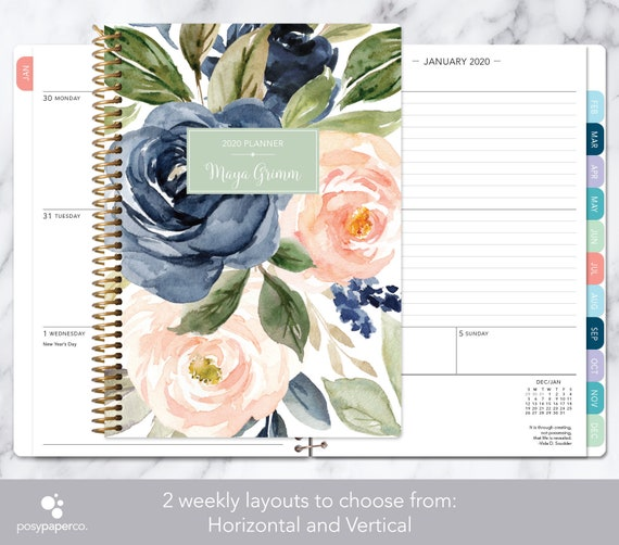 Personalized planner 2021  12 month calendar  weekly planner
