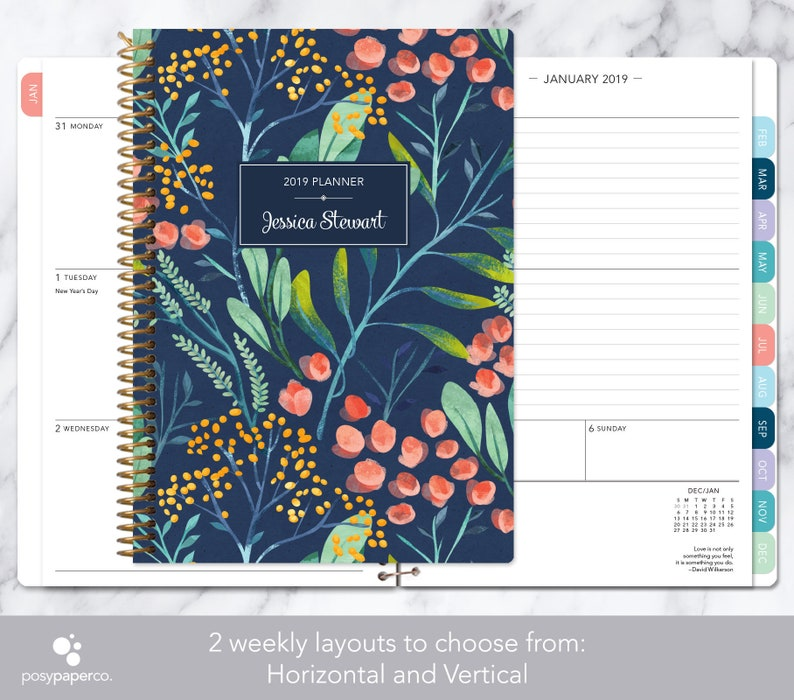 personalized planner 2019 & 2020 calendar  add monthly tabs image 0
