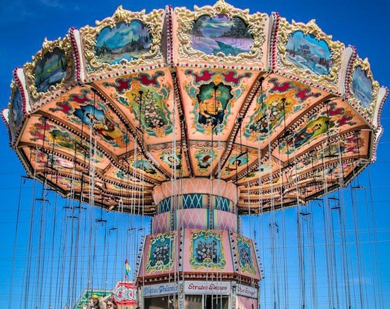 Victorian Carnival Swings Full View Fine Art Print or Canvas Gallery Wrap