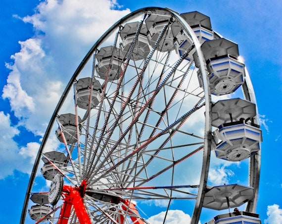 Ferris Wheel Blue & Red Fine Art Print or Canvas Gallery Wrap