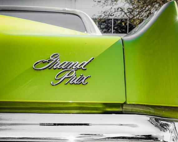 1972 Green Pontiac Grand Prix Back End Fine Art Print or Canvas Gallery Wrap