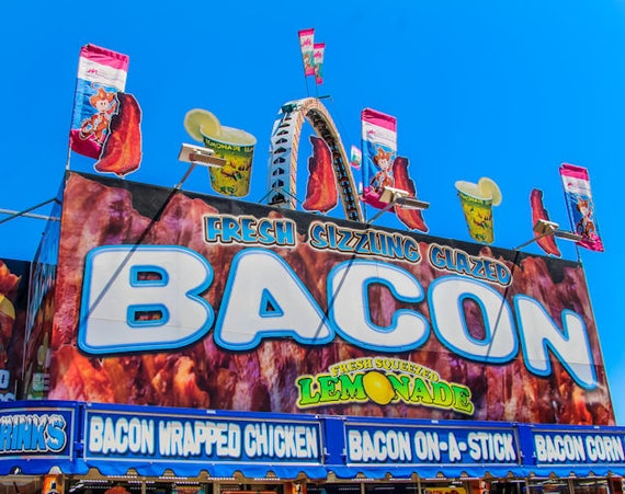 Fresh Sizzling Bacon Carnival Food Vendor Fine Art Print or Canvas Gallery Wrap