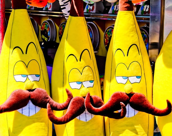 Yellow Bananas with Mustaches Carnival Fair Game Fine Art Print or Canvas Gallery Wrap