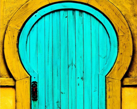 Yellow & Blue Aged Wooden Door Fine Art Print or Canvas Gallery Wrap