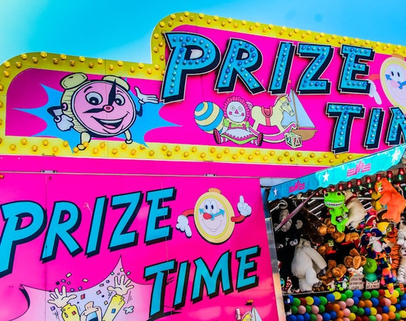 Prize Time Hot Pink Carnival Fair Booth Fine Art Print or Canvas Gallery Wrap