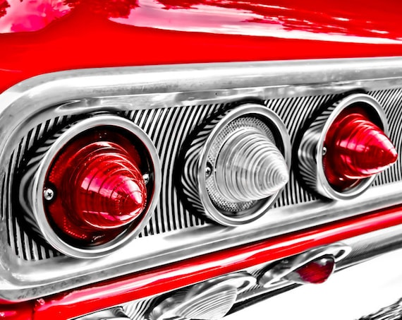 Chevrolet Impala Tail Lights Car Fine Art Print or Canvas Gallery Wrap