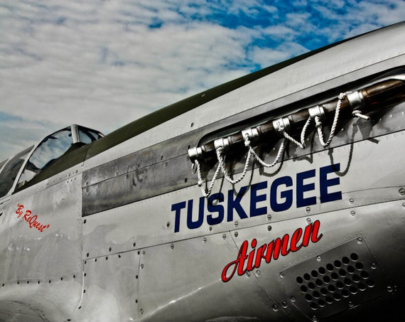 Tuskegee Airmen North American P-51 Airplane Fine Art Print or Canvas Gallery Wrap