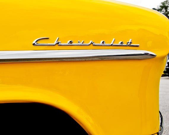 Chevrolet Car Cursive Lettering Fine Art Print or Canvas Gallery Wrap