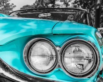 1964 Ford Thunderbird Headlights Car Photography, Automotive, Auto Dealer, Muscle, Sports Car, Mechanic, Boys Room, Garage, Dealership Art
