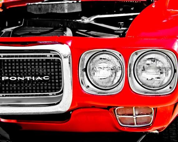 1969 Red Pontiac Firebird Trans Am Fine Art Print or Canvas Gallery Wrap