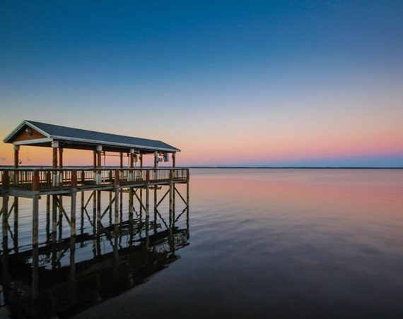 Gradient Sanford Florida Sunset & Dock Fine Art Print or Canvas Gallery Wrap