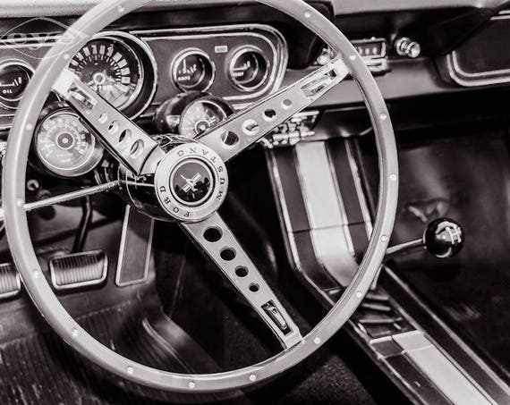 1966 Ford Mustang Steering Wheel Fine Art Print or Canvas Gallery Wrap