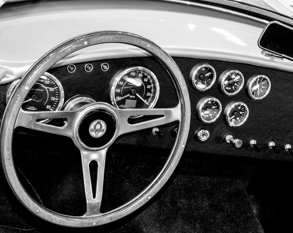 Ford Shelby Cobra Car 1965 Steering Wheel Fine Art Print or Canvas Gallery Wrap