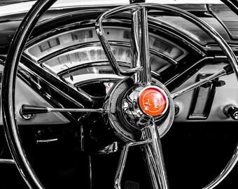 1955 Mercury Montclair Steering Wheel Car Photography, Automotive, Auto Dealer, Classic Car, Mechanic, Boys Room, Garage, Dealership Art
