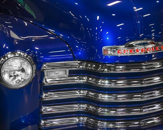 1948 Blue Chevrolet 3100 Pickup Truck Fine Art Print or Canvas Gallery Wrap