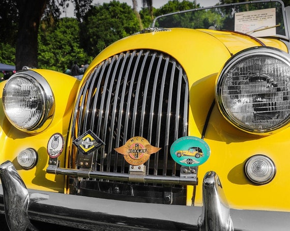 Morgan Roadster in Yellow British Car Fine Art Print or Canvas Gallery Wrap