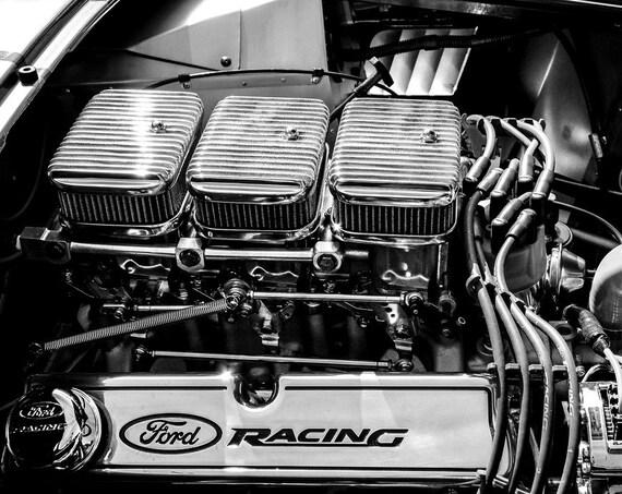 Ford Shelby AC Cobra Engine Logo Car Fine Art Print or Canvas Gallery Wrap