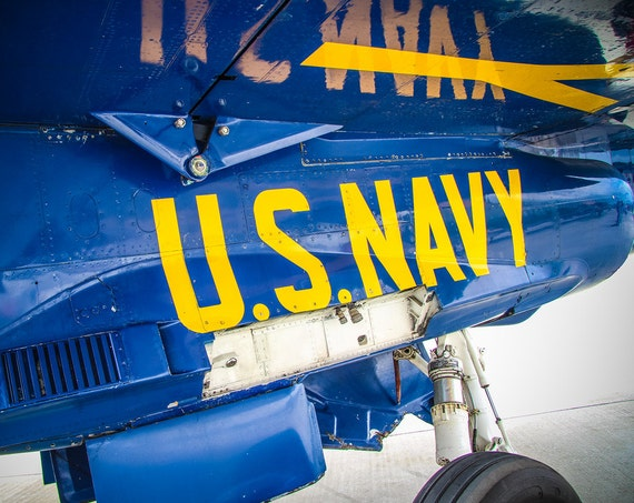Blue Angels - F/A-18 Hornet Plane Under Wing U.S. Navy Lettering Fine Art Print or Canvas Gallery Wrap