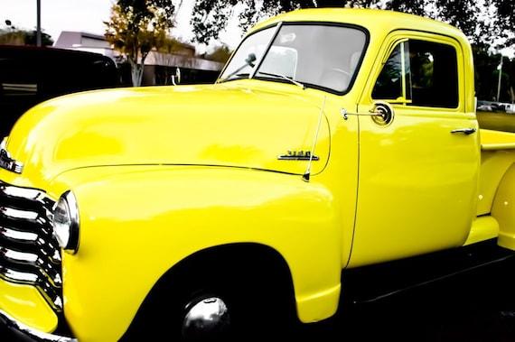 Yellow Chevrolet 3100 Truck Side VIew Fine Art Print- Car Art, Antique Car, Home Decor, Nursery Decor, Wall Art, Vintage Car
