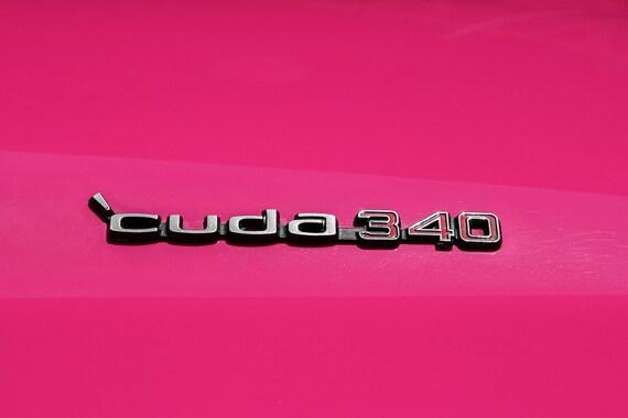 Plymouth Barracuda 340 PINK Logo View Car Fine Art Print or Canvas Gallery Wrap