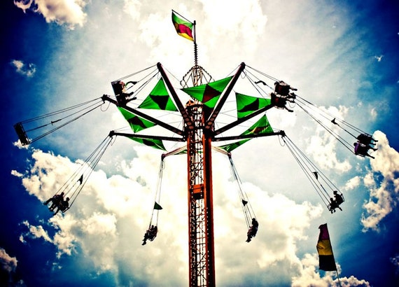 Carnival Swings Ride & Surreal Sky Fine Art Print or Canvas Gallery Wrap