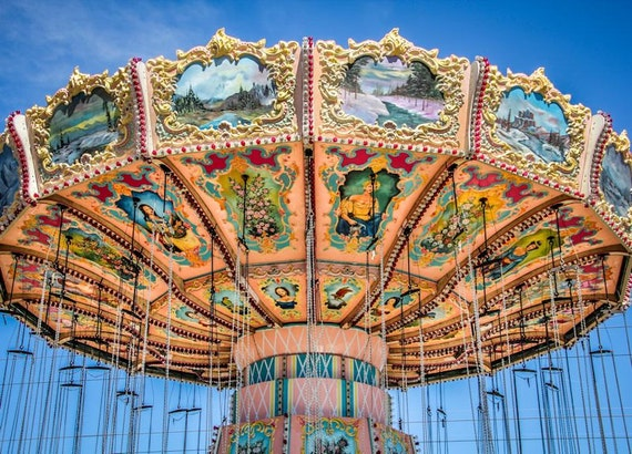 Victorian Carnival Swings 1 Fine Art Print or Canvas Gallery Wrap