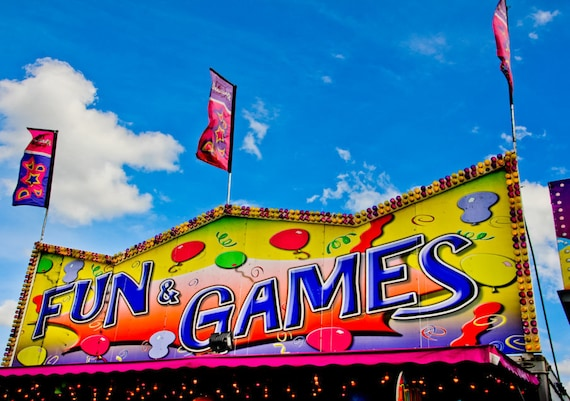 Fun & Games Carnival Fair Booth Fine Art Print or Canvas Gallery Wrap
