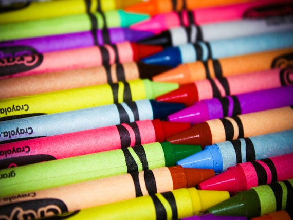 Colorful Crayons Rainbow Delight Fine Art Print or Canvas Gallery Wrap