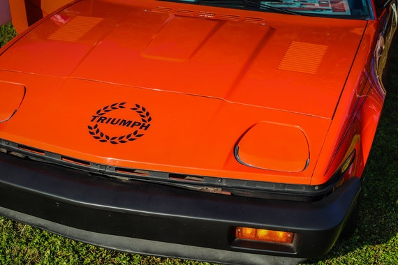 1980 Red Triumph TR7 Hood & Logo British Car Fine Art Print or Canvas Gallery Wrap