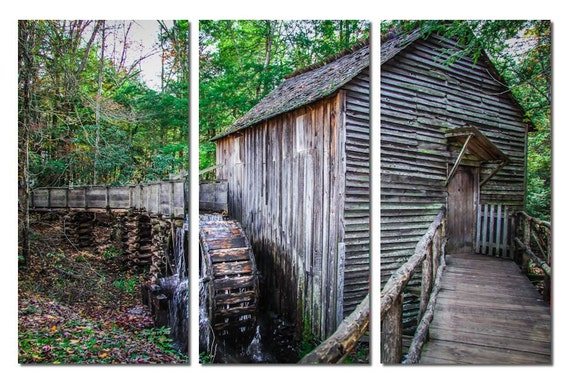 Cable Grist Mill at Great Smoky Mountains National Park Canvas Triptych, 3 Panel Art, LARGE, Ready to Hang