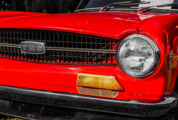 Red Triumph TR6 British Car Fine Art Print or Canvas Gallery Wrap