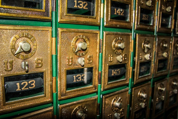 Vintage Gold Post Office Boxes Fine Art Print or Canvas Gallery Wrap