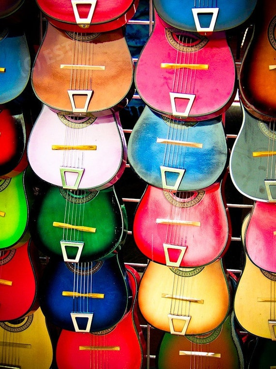Colorful Wooden Music Guitars Fine Art Print or Canvas Gallery Wrap
