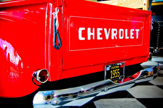 Red 1955 Chevrolet 3100 Truck Back End Fine Art Print or Canvas Gallery Wrap