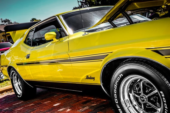 1973 Ford Mustang Mach 1 Car Fine Art Print or Canvas Gallery Wrap