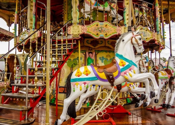 Carnival Horses Carousel Ride Fine Art Print or Canvas Gallery Wrap