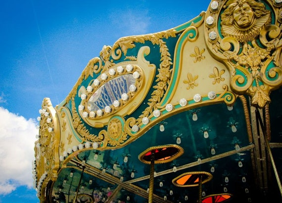Blue and Gold Carnival Carousel (Merry-Go-Round) Fine Art Print or Canvas Gallery Wrap