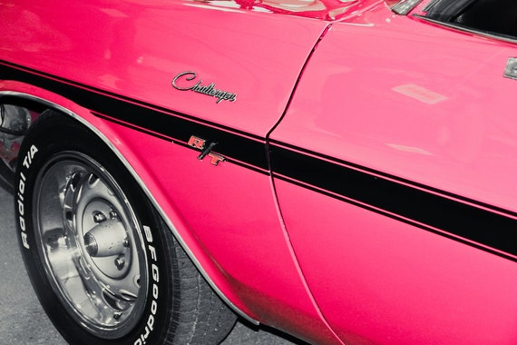 1970 Dodge Challenger R/T PINK Car Fine Art Print or Canvas Gallery Wrap