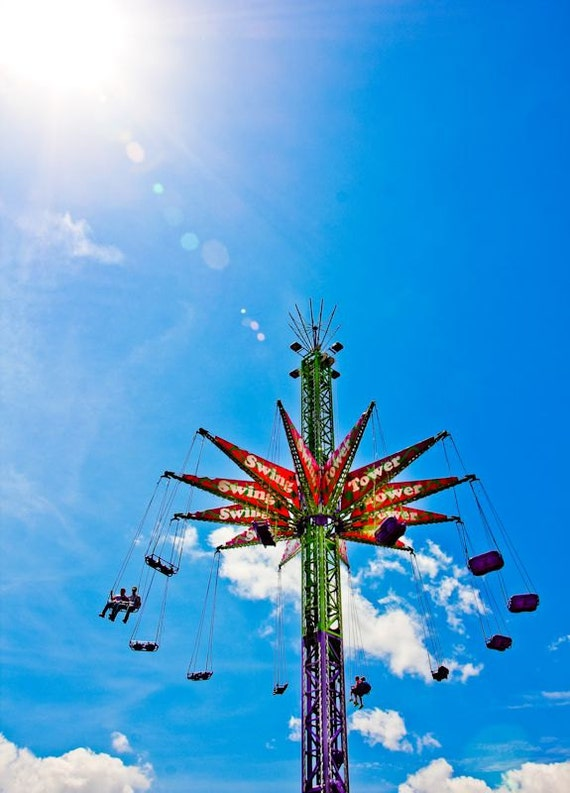 Swing Tower Carnival Fair Ride Fine Art Print or Canvas Gallery Wrap