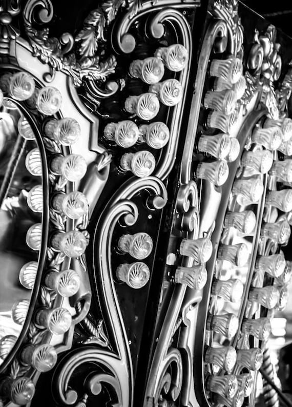 Carnival Lights in Detail Black and White Fine Art Print or Canvas Gallery Wrap