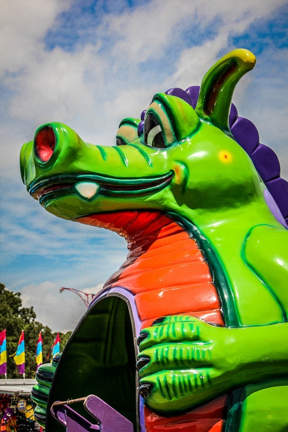 Dizzy Dragons Kiddie Carnival Ride Fine Art Print or Canvas Gallery Wrap