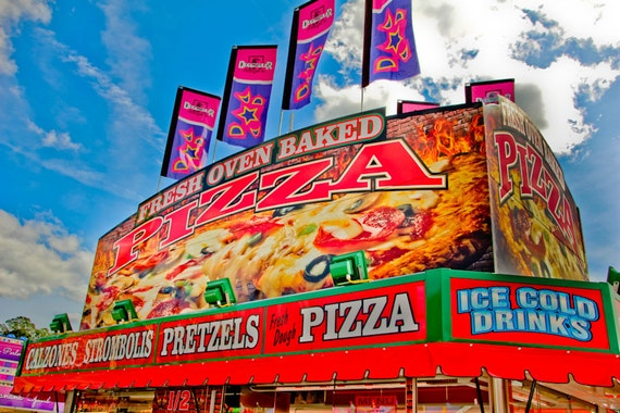Oven Baked Pizza Carnival Food Vendor Fine Art Print or Canvas Gallery Wrap