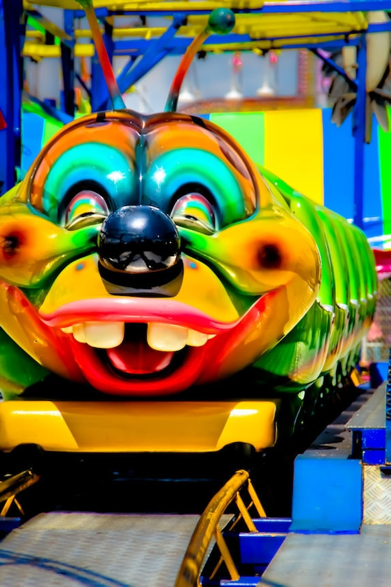 Smiling Caterpillar Roller Coaster Ride Fine Art Print or Canvas Gallery Wrap