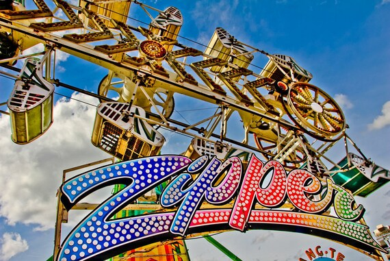 The Zipper Sign Carnival Ride Fine Art Print or Canvas Gallery Wrap