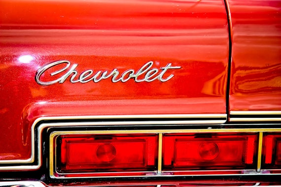 Red Chevrolet Lights and Lettering Car Fine Art Print or Canvas Gallery Wrap
