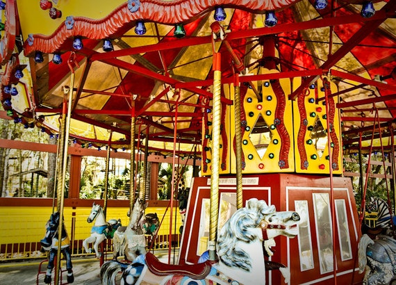 Carousel at County Fair (Merry-Go-Round) Fine Art Print or Canvas Gallery Wrap