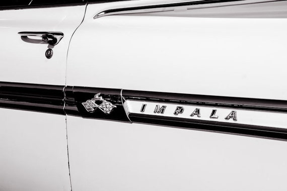 Chevrolet Impala Logo & Lettering Car Fine Art Print or Canvas Gallery Wrap