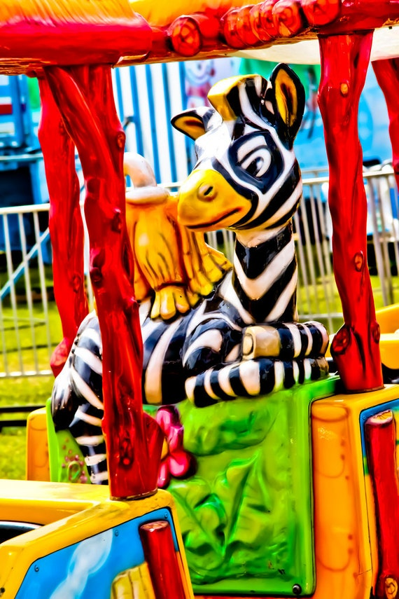 Zebra Train Kid Ride Fine Art Print or Canvas Gallery Wrap