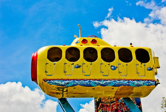 Yellow Submarine Kiddie Carnival Ride Fine Art Print or Canvas Gallery Wrap